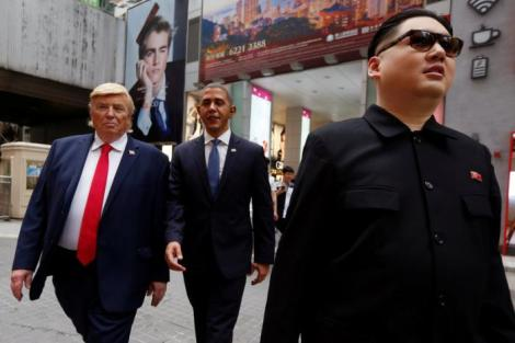 Impersonators of North Korean leader Kim Jong-un, former U.S. President Barack Obama, and U.S. President Donald Trump walk in Hong Kong