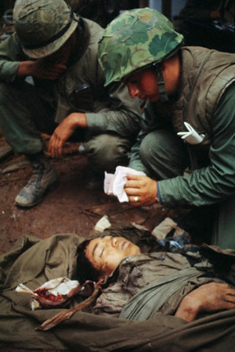 U.S. Marines Treating Wounded North Vietnamese Soldier