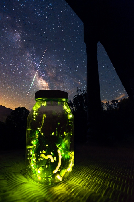 Fireflies In Jar On Porch-Meteor Streaking In Milky Way